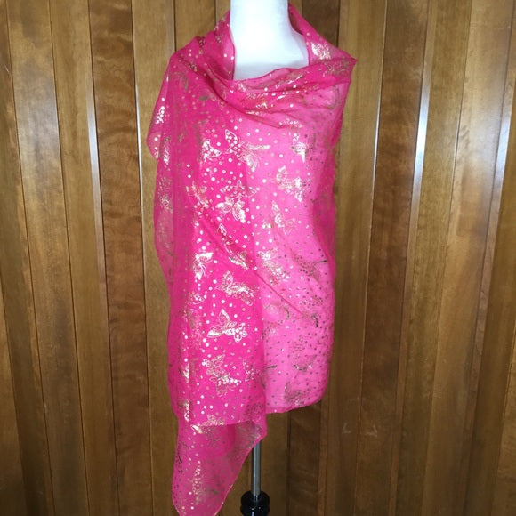 Hot Pink & Gold Butterfly Wrap Scarf
