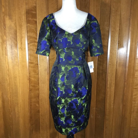 Alex Evenings Black, Blue & Green Floral Print Silk Dress