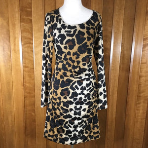 Inc. Black, Brown & Tan Leopard Long Sleeve Dress Size L