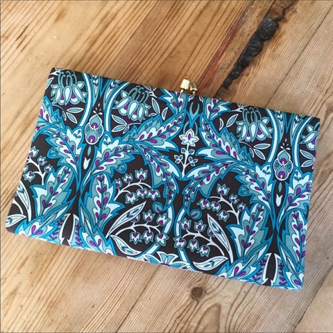 Banana Republic Turquoise Blue  & Purple Floral Silk Clutch Purse