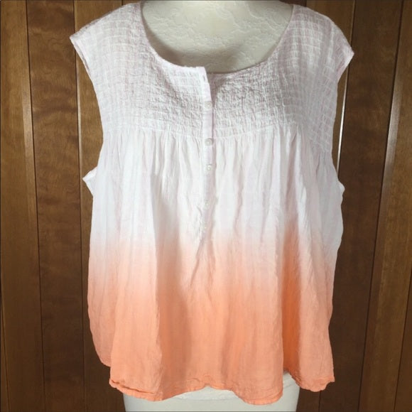 Free People We the Free Peach & White Ombre' Sleeveless Over Sized Crop Top Size S
