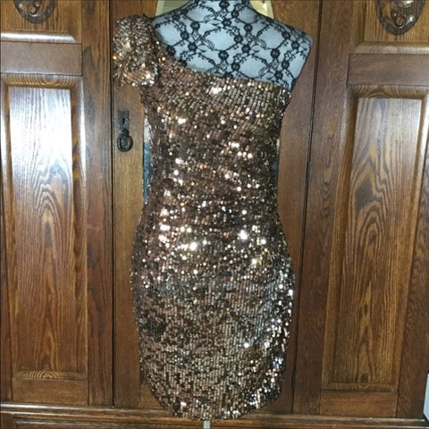 City Triangles Bronze Sequin One Shoulder Dress Size 11 Jr.