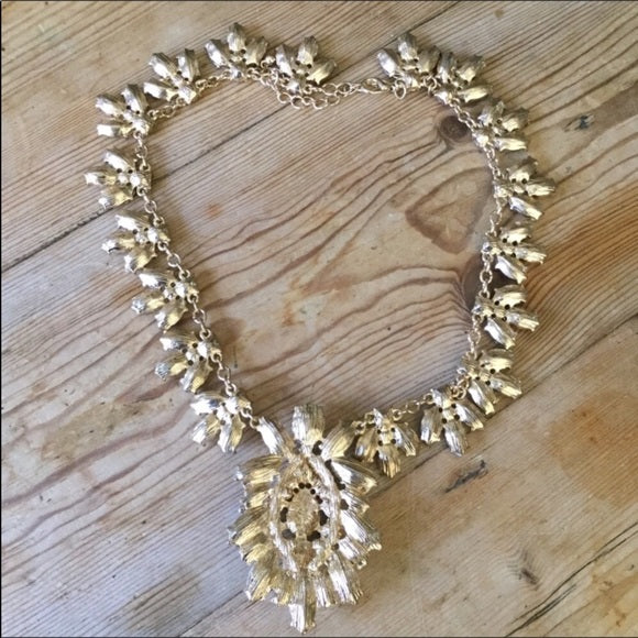 Large Gold & Clear Rhinestone Bib Statement Necklace