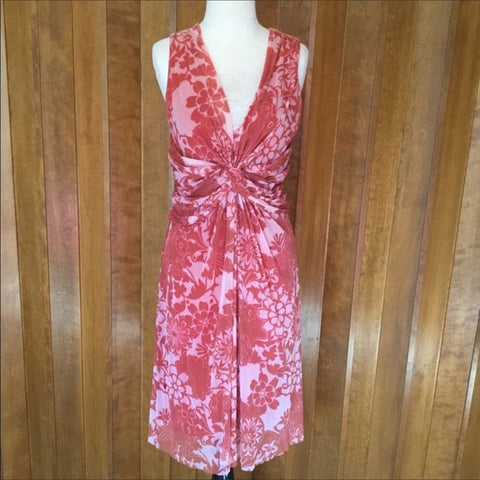 Weston Wear Red & White Sheer Nylon Floral Sleeveless Dress