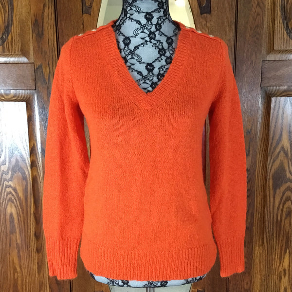 J. Crew Orange Long Sleeve V-Neck Sweater Size S
