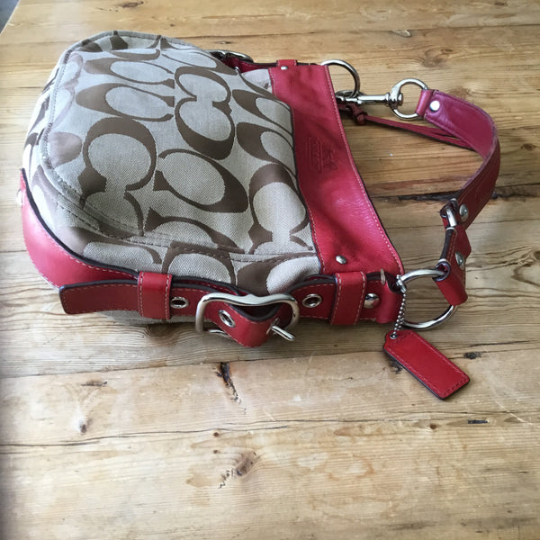 Coach Brown Canvas Logo with Red Leather Trim Hobo Handbag