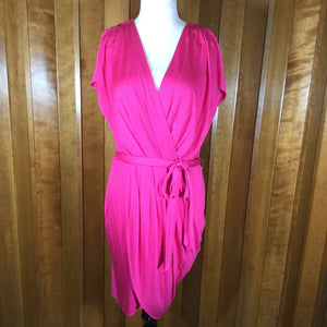 Banana Republic Hot Pink Ruched Silk Asymmetric Short Sleeve Dress Size M
