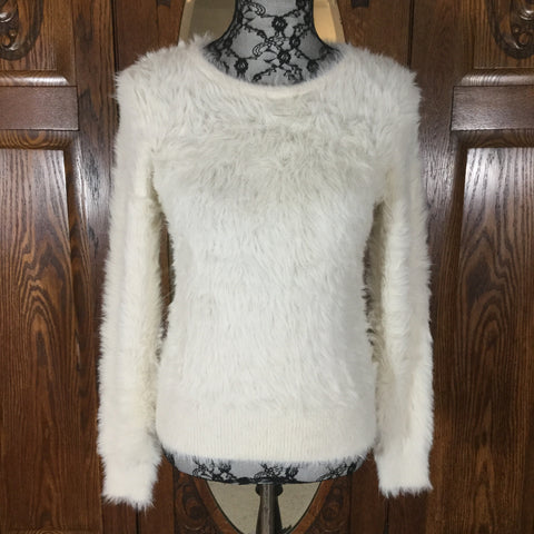 Banana Republic White Furry Long Sleeve Crew Neck Sweater Size M