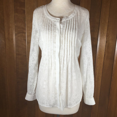 Anthropologie Meadow Rue White Lace Long Sleeve Button Down Blouse Size S