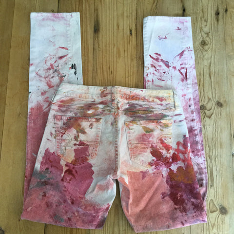 American Eagle Outfitters Pink One of a Kind Hand Painted Skinny 77 Jeans Size 2