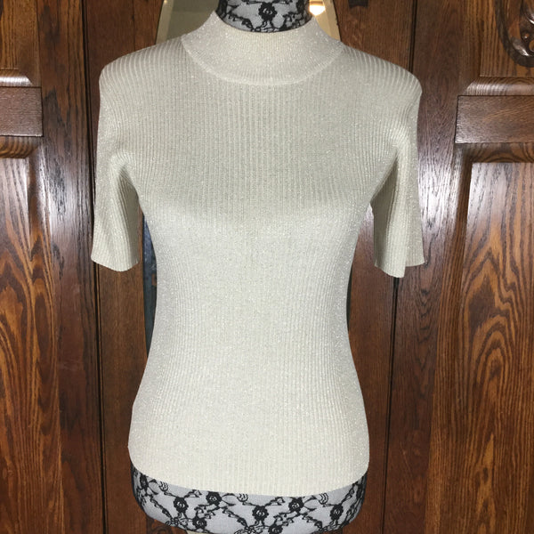 Joseph A Metallic Gold Silk Short Sleeve Mock Turtleneck  Sweater Size M
