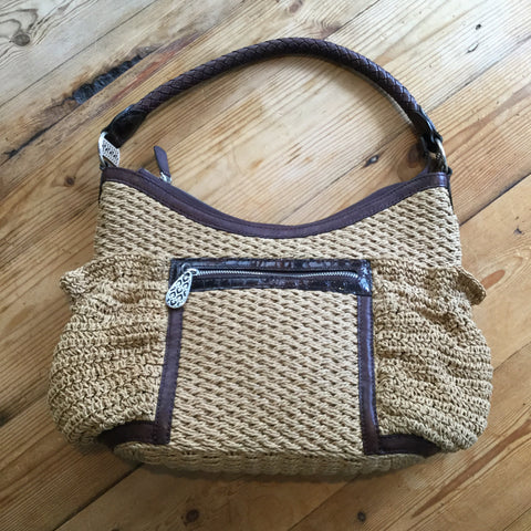 Brighton Tan Straw/Jute & Brown Leather Trimmed Hobo Handbag