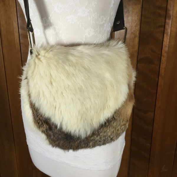 Vintage Handmade White & Brown Rabbit Fur & Leather Cross Body Purse Handbag