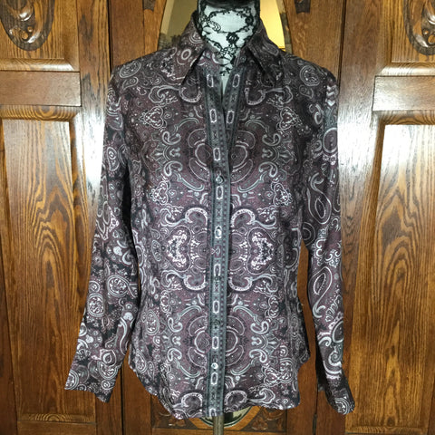 Ann Taylor Purple, Black & Gray Paisley Print 100% Silk Long Sleeve Blouse