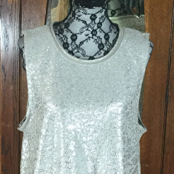 Free People Silver & Gray Floral Print Sleeveless Crop Top Size L