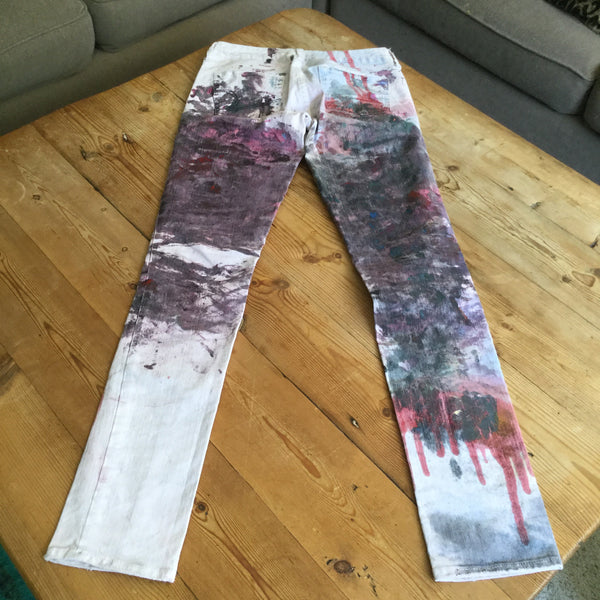American Eagle Outfitters Pink Skinny 77 One of a Kind Hand Painted Jeans Size 2