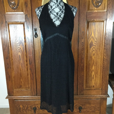 Elie Tarahi Black Crochet Lace Overlay V-Neck Halter Dress Size 12