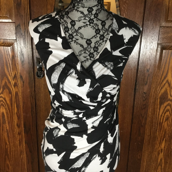 Weston Black & White Abstract Print Sleeveless Dress Size XS