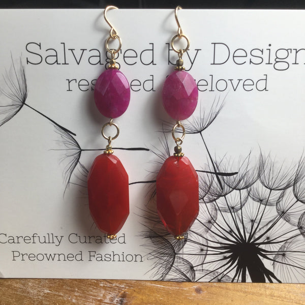 Handmade Gold Fill, Dyed Jade & Red Faceted Glass Beaded Earrings