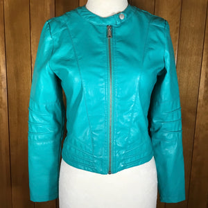Jou Jou Turquoise Blue Faux Leather Long Sleeve Moto Jacket Size L
