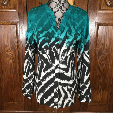 Calvin Klein Black, White & Green Abstract Print Long Sleeve Button Down Long Sleeve Blouse Size XL