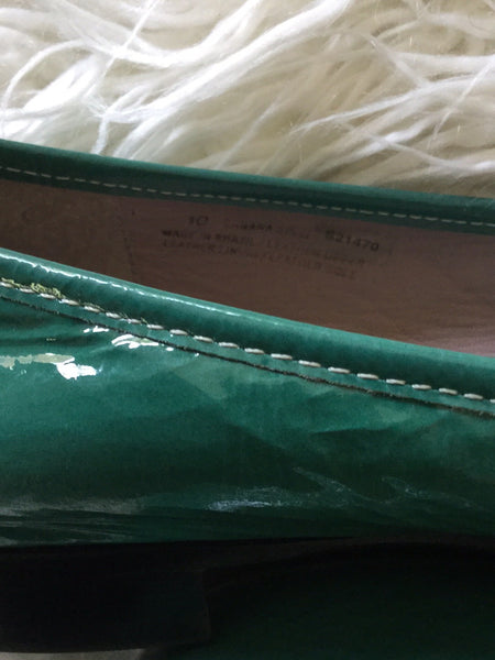 "Kenneth Cole ""Banana Split"" Turquoise Green Patent Leather Loafers Size 10"