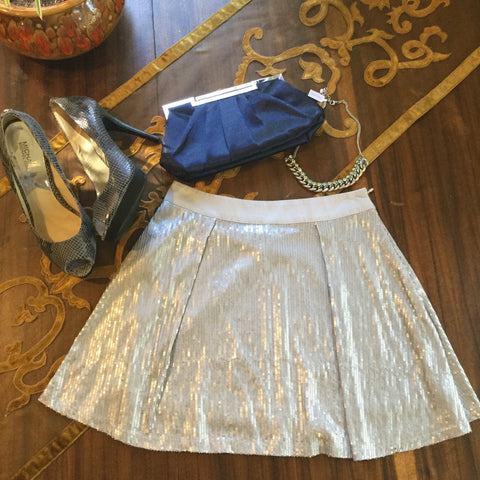 Forever 21 Silver & Gray Sequin Circle/Pleated Skirt Size S