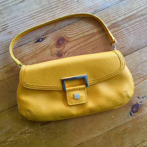 Liz Claiborne Bright Yellow Faux Leather Mini Handbag