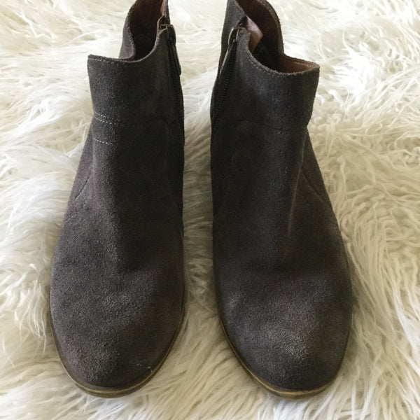 "Lucky Brand ""Brolley"" Gray Suede Ankle Boots Size 7"