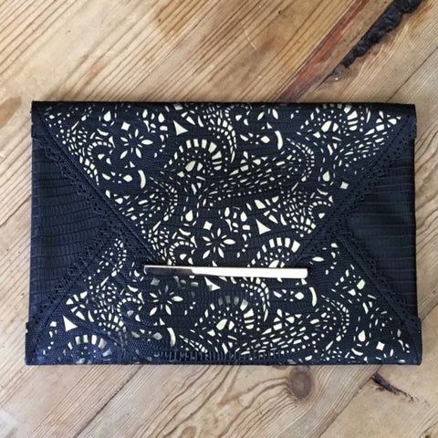 BCBGMaxAzria Black & Gold Faux Leather Laser Cut Envelope Clutch Bag
