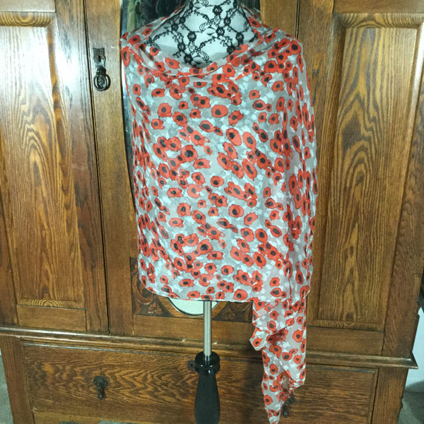 Soothers Brand Gray & Red/Orange Floral Print Wrap Scarf
