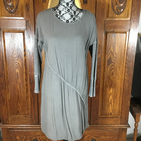 Elisa Cavaletti Gray & Silver Sparkle Long Sleeve Scoop Neck Knit Dress NWT Size S