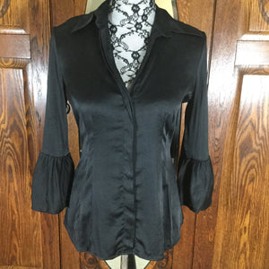 BCBGMaxAzria Black 100% Silk Button Front Blouse Size S