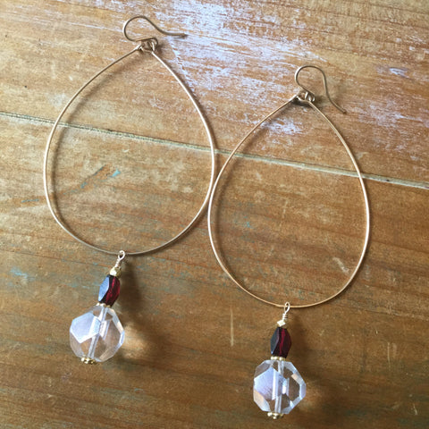 Handmade Gold Fill, Crystal & Garnet Hoop Earrings