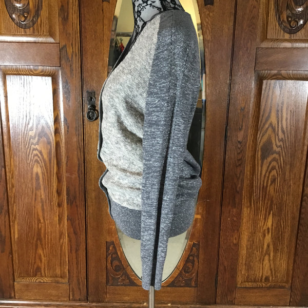 Loft Gray & Silver Long Sleeve Button Down Cardigan Sweater Size M