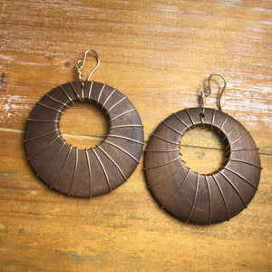 Handmade Gold Fill Wire Wrapped Wooden Hoop Earrings