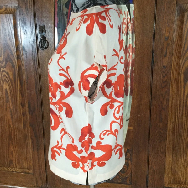 Loft Cream & Red Bold Floral Print Short Sleeve Blouse Size S