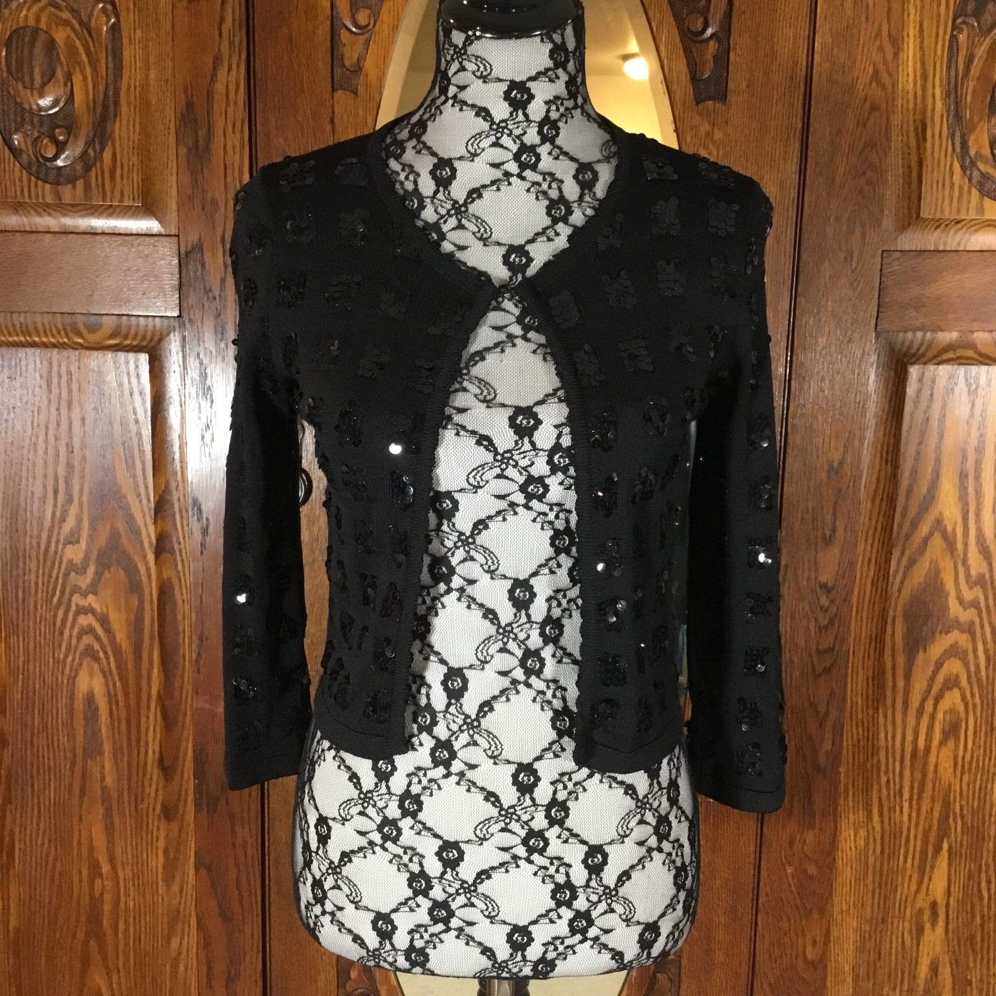Le Lis Blanc Black Sequin 3/4 Sleeve Open Crop Sweater Size S/P