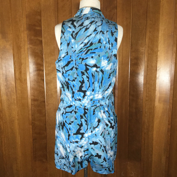 Bebe  Aqua Blue, White & Black Abstract Print Silk Sleeveless Romper Size M