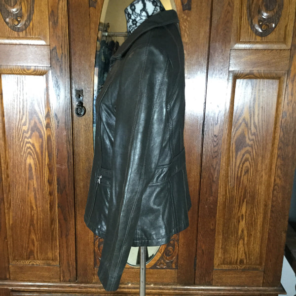 Marc New York by Andrew Marc Black Long Sleeve Leather Jacket Size M