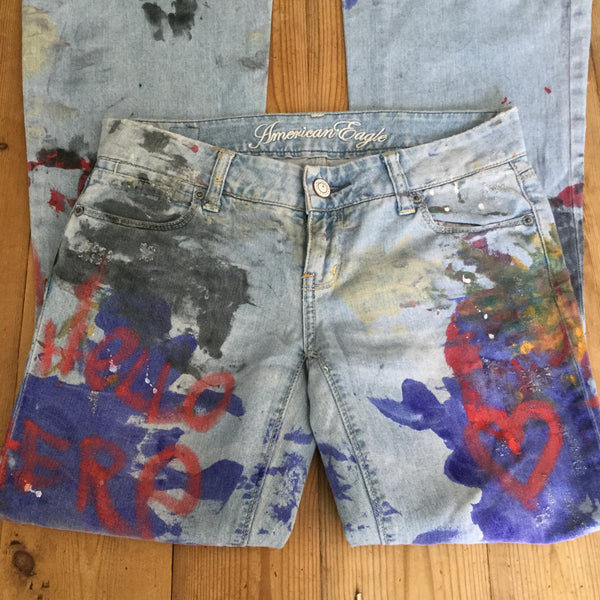 American Eagle Real Flare Live Your Life Hand Painted Jeans Size 0