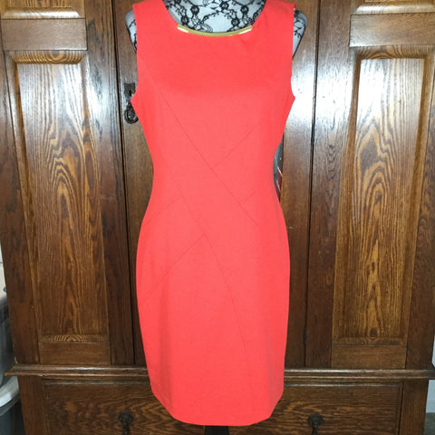 Calvin Klein Orange Sleeveless Shift Dress Size 10