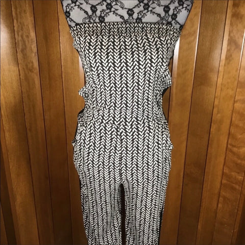 Love Ady Brown & Cream Abstract Print Strapless Jumpsuit Size M