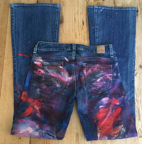 American Eagle Hand Painted Vintage Flare Jeans Size 0
