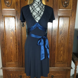 Laundry by Shelli Segal Navy Blue Short Sleeve V-Neck Dress Size 0