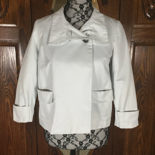 Calvin Klein Light Gray Cotton Cropped 3/4 Sleeve Jacket Size 4