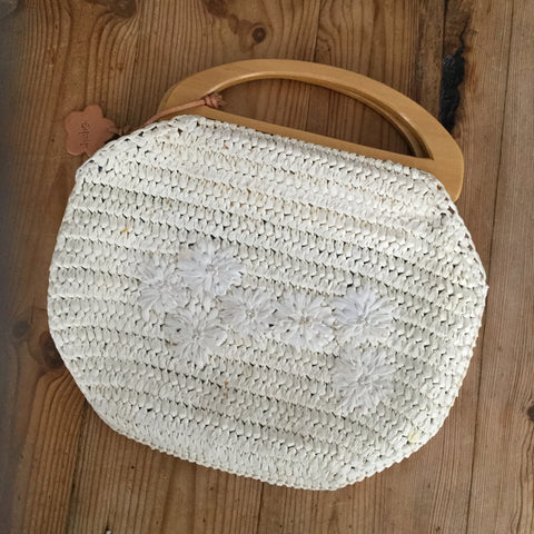 Esprit Off White Rafia/Straw & Wood Handle Handbag Purse