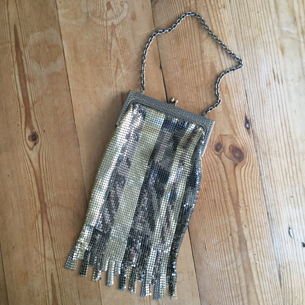 Whiting & Davis Gold & Silver Striped Chain Mail Fringed Evening Bag