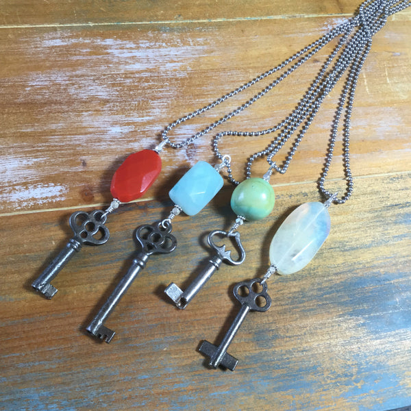 Handmade One of a Kind Vintage Skeleton Key & Turquoise Necklace