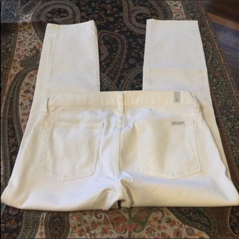 7 For All Mankind White Slim Straight Leg Jeans Size 27